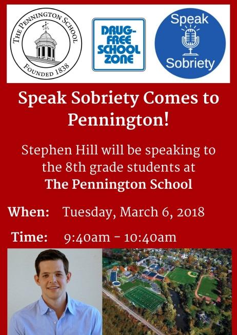 Speak Sobriety Comes to Pennington!